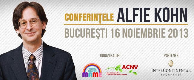 Alfie Kohn ne invită pe 16 noiembrie la două evenimente ce nu trebuie ratate