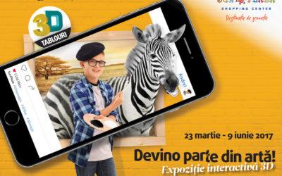 """""""Devino parte din artă!"""" Vino în Sun Plaza  la prima expoziție interactivă de tablouri 3D din România."""